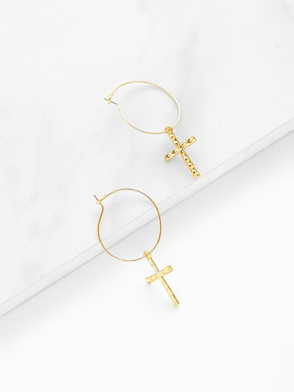 Cross Design Drop Earrings by Sheinside