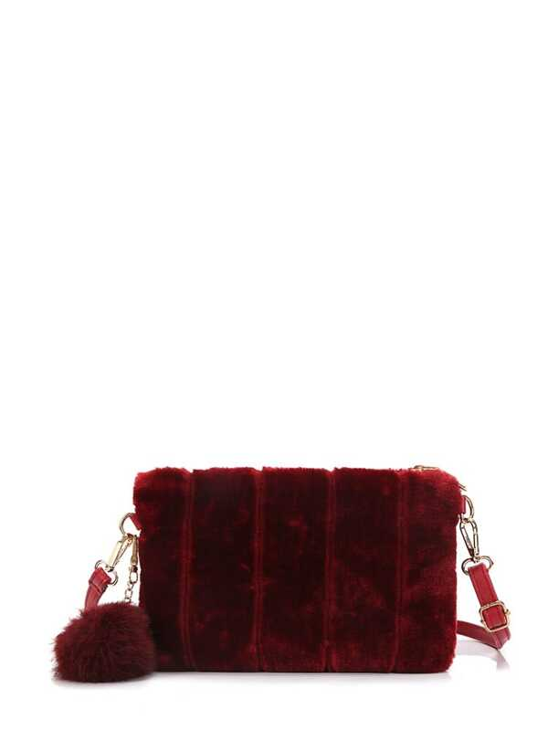 Faux Fur Overlay Crossbody Bag With Pom Pom  08ee02d2fd813