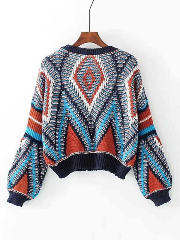 1024171f9dd5 Geometric Pattern Loose Sweater