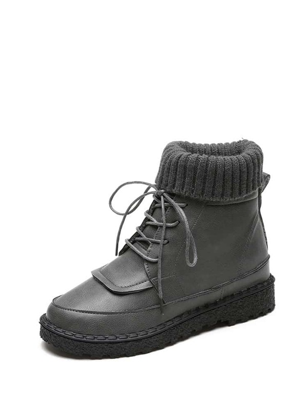 5907786105bf6 Knit Detail Lace Up Ankle Boots | SHEIN UK
