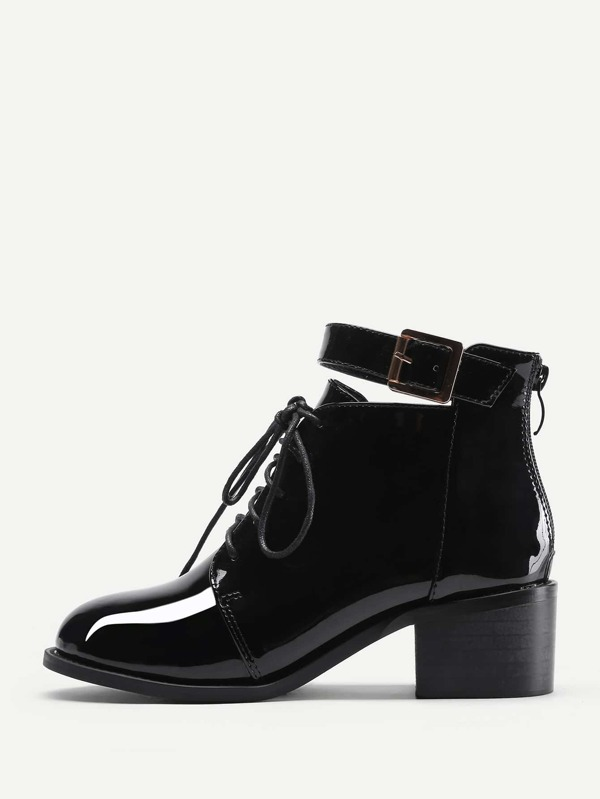 a245f58e9f Lace Up Block Heeled Patent Leather Boots   SHEIN