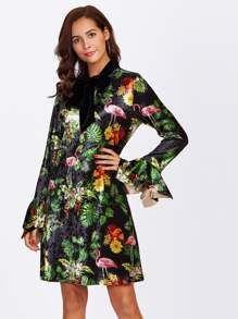 Tie Neck Tropical Velvet Dress