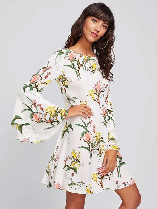 2963d2e11e9 Cheap Tiered Bell Sleeve Floral Dress for sale Australia
