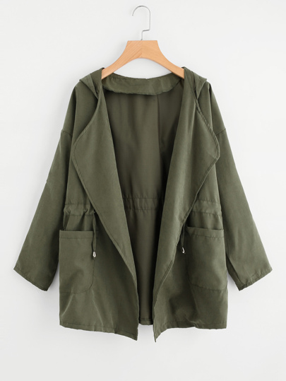 Dual Pocket Drawstring Waist Hooded Coat