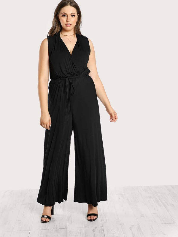 3b677b42b072b Cheap Plus Surplice Front Drawstring Waist Palazzo Jumpsuit for sale ...