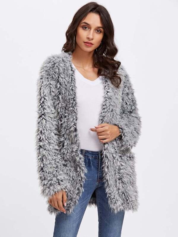 64797f985f Open Front Fuzzy Faux Fur Coat   SHEIN UK