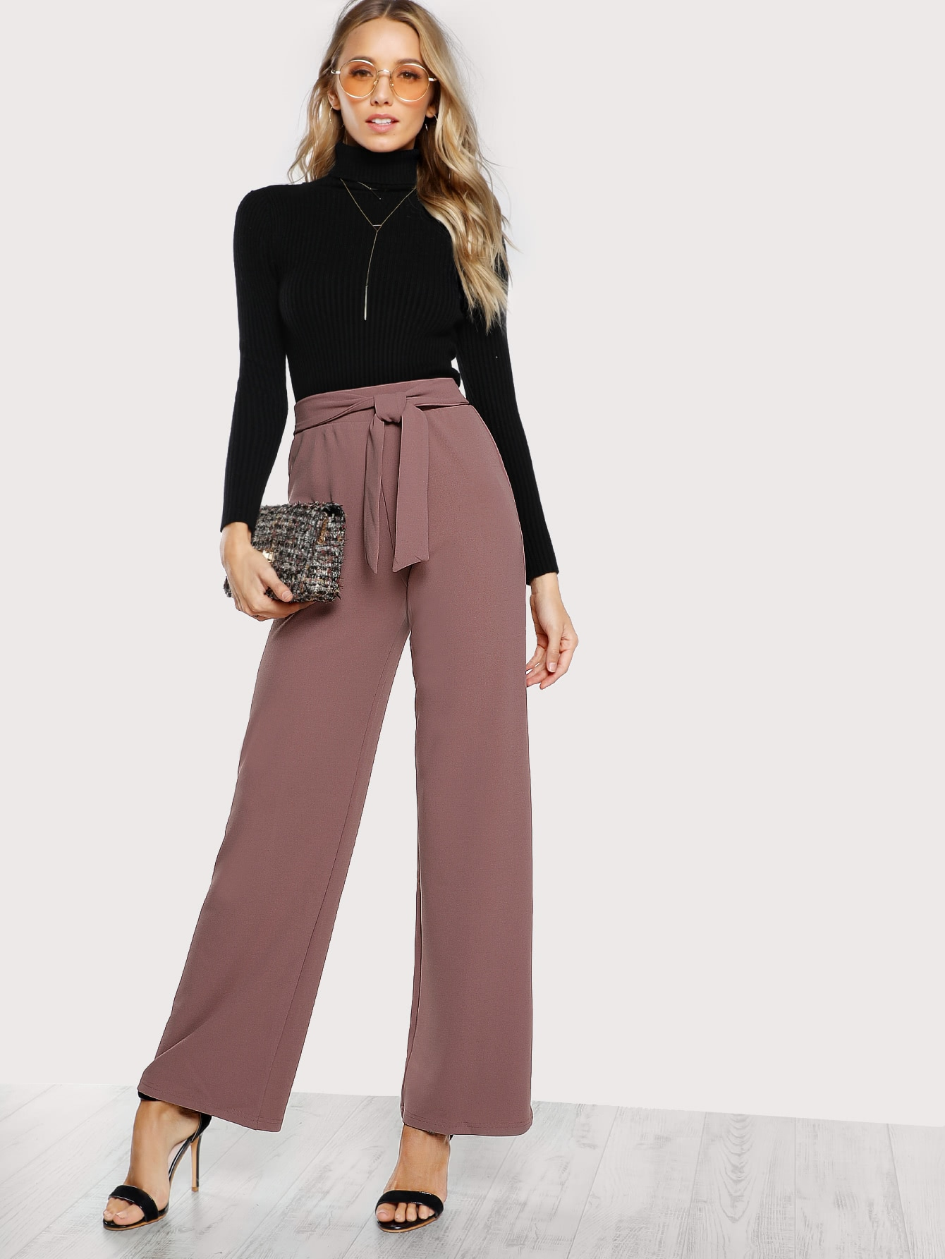 2ded9cb82b62f7 Self Tie Waist Palazzo Pants EmmaCloth-Women Fast Fashion Online