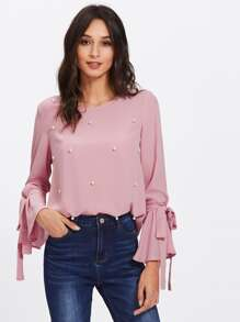 Faux Pearl Beaded Tied Cuff Blouse