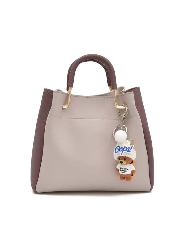 2984be7300 PU Two Tone Handbag With Clutch