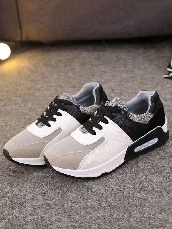 a20afc55086 Contrast Panel Lace Up PU Trainers