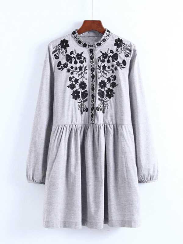 4ff78ab58e Flower Embroidery Shirt Dress | SHEIN UK