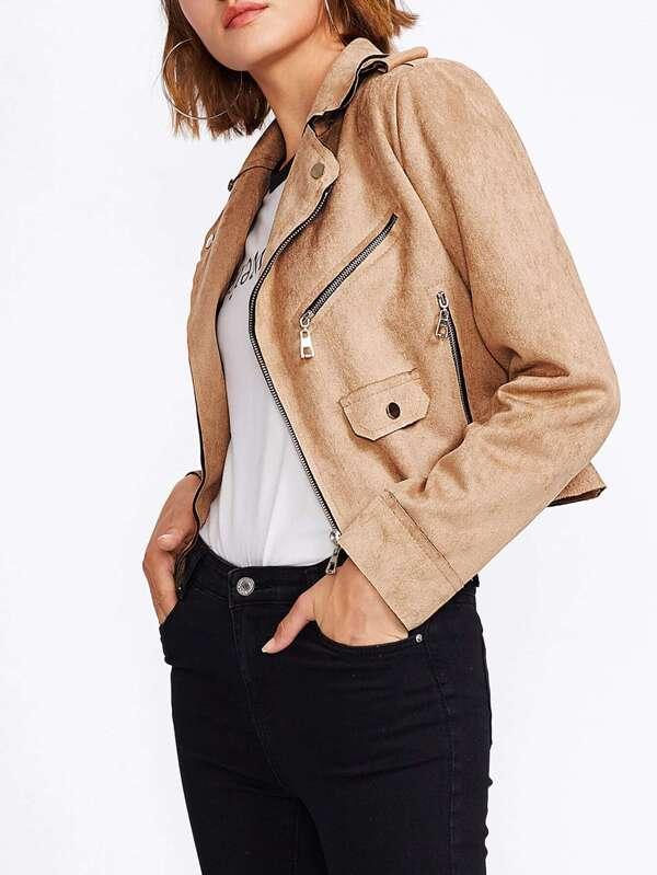 374027d822998c Suede Raw Edge Biker Jacket   SHEIN UK