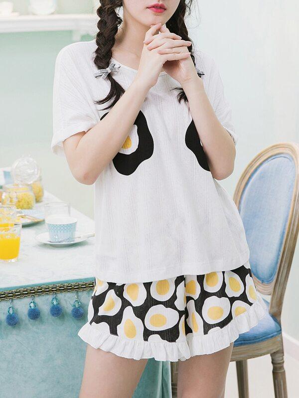 4fd50844ff Fried Egg Print Tee & Shorts Pajama Set   SHEIN