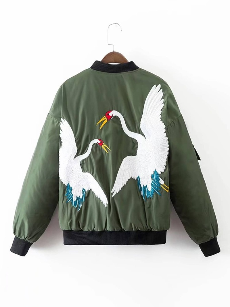 29835bde16 Crane Embroidery Quilted Bomber Jacket