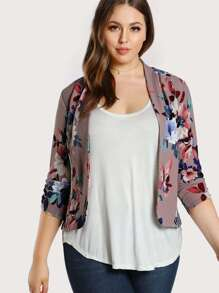 Plus Shirred Cuff Stretch Knit Floral Blazer