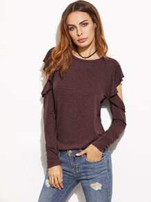 Open Shoulder Ruffle T-shirt