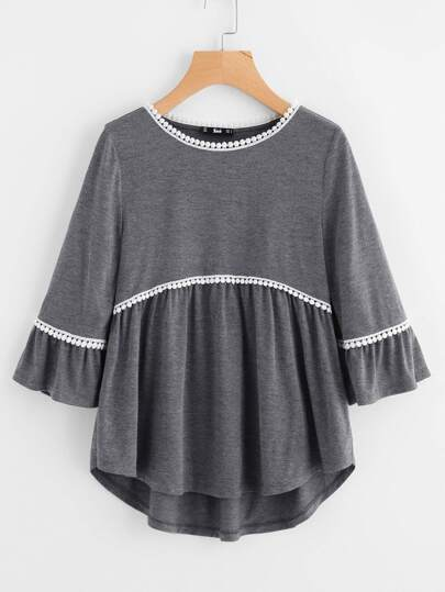 Crochet Trim Curved Dip Hem Smock Top