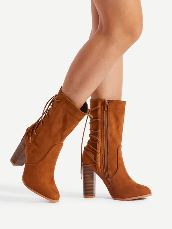 b0e3883356 Lace Up Back Block Heeled Boots | SHEIN