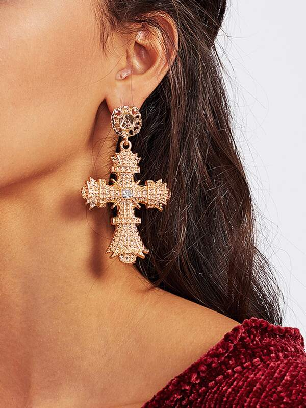 Rhinestone Cross Drop Earrings by Sheinside