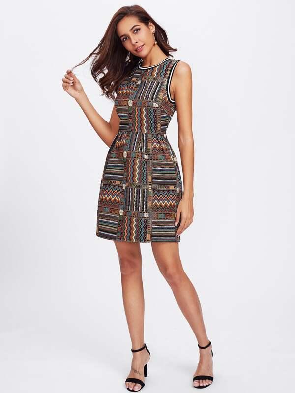 ASOS PREMIUM Swing Dress With Geo-Tribal Embroidery ($106) ❤ liked on  Polyvore