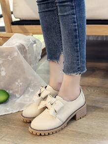426a8c92cc Bow Tie PU Chunky Platform Shoes | SHEIN