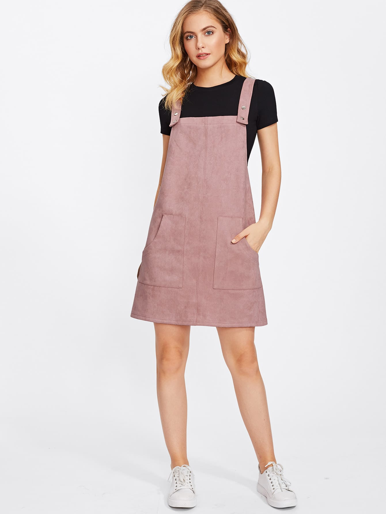 Patch Pocket Front Suede Overall Dress Shein Sheinside