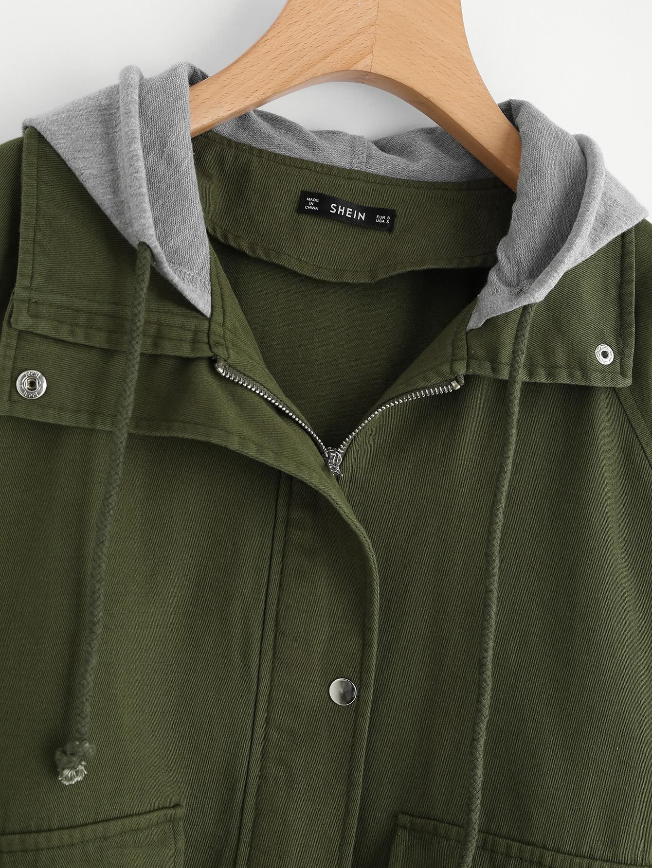 9b77b49f2e9ea Contrast Hood Drawstring Hem Utility Jacket EmmaCloth-Women Fast ...
