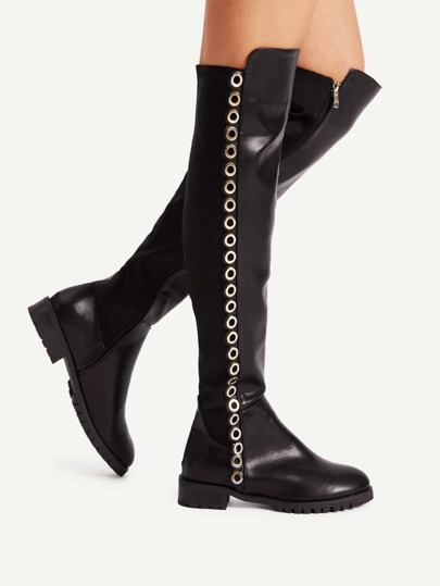 Grommet Detail Side Zipper Low Heeled Boots