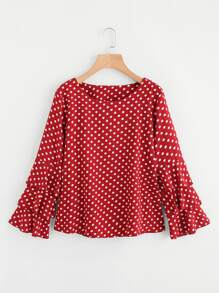 Tiered Fluted Sleeve Polka Dot Blouse