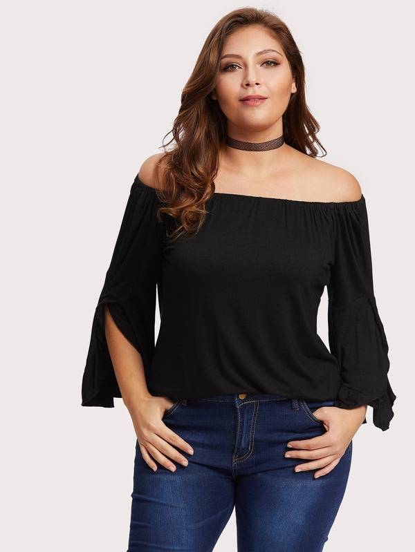 130f2102f89 Plus Off Shoulder Split Sleeve Top
