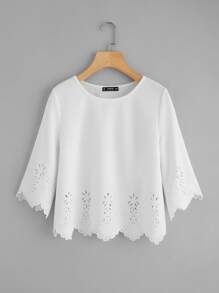 Scallop Laser Cut Textured Top