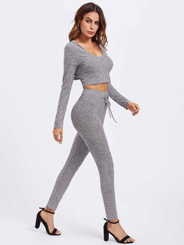 93a097a75b7c57 Rib Knit Marled Hoodie Tee   Leggings Set