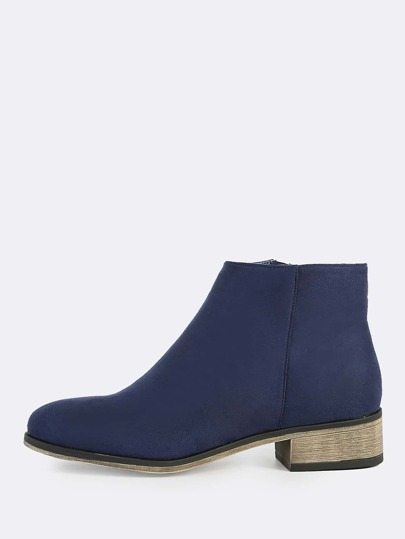 Faux Suede Zipper Boots NAVY