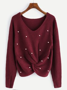 Pearl Beaded Detail Twist Sweater