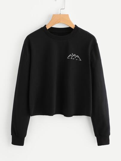 Raw Hem Graphic Print Sweatshirt