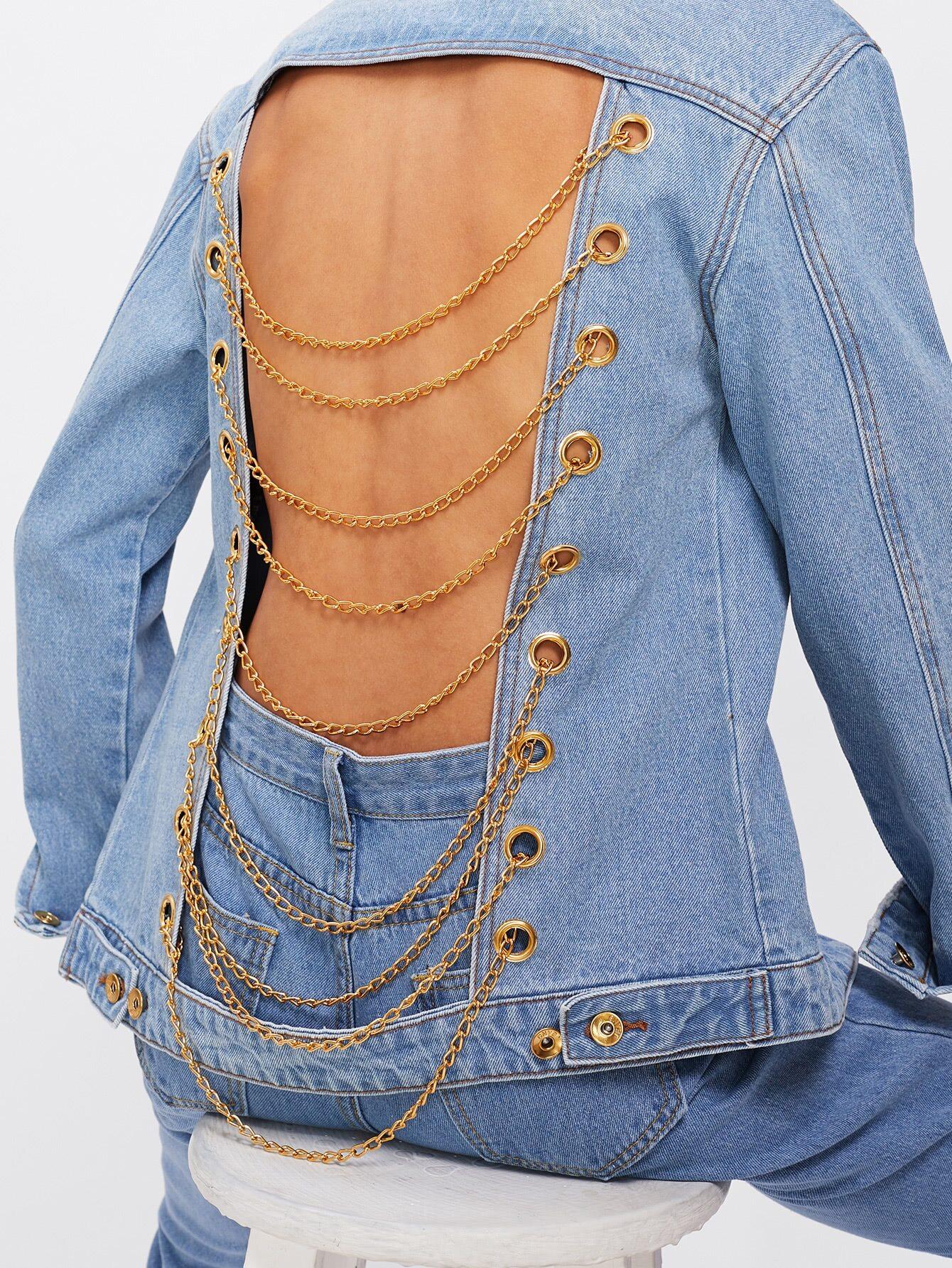 Grommet Ladder Chain Back Jacket Emmacloth Women Fast
