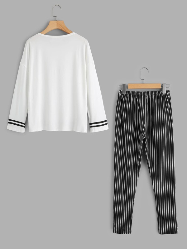 eddfac808 Cheap Contrast Trim Top And Stripe Pants Pajama Set for sale Australia