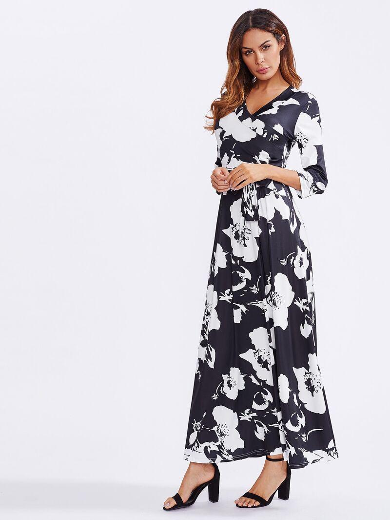 589482ac3e7 Vestido largo con estampado de flor y cinturón | ROMWE