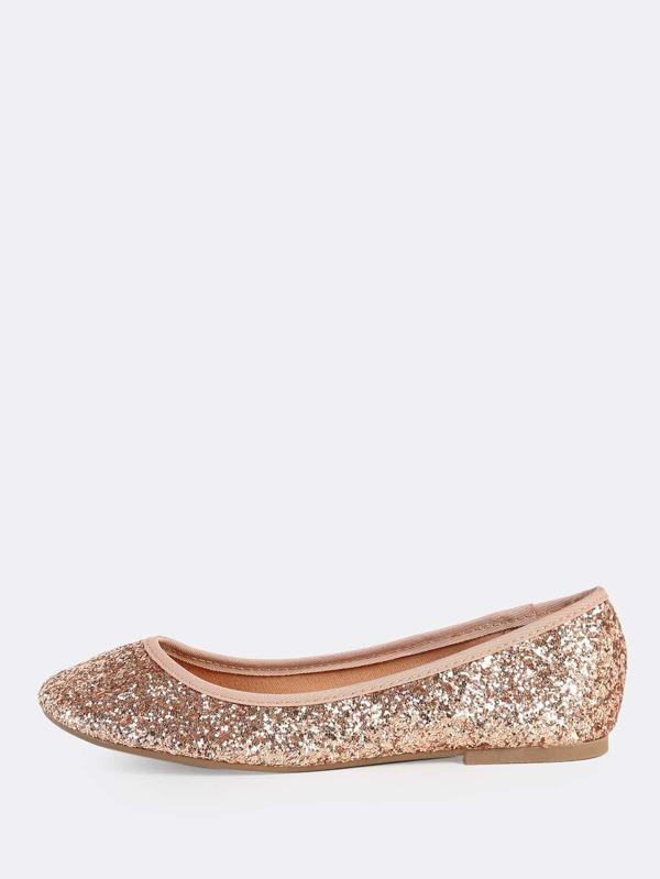 cf6369f63ebd Cheap Round Toe Chunky Glitter Flats ROSE GOLD for sale Australia ...