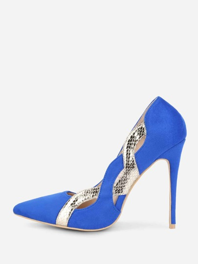 Metallic Snakeskin Detail Stiletto Heels