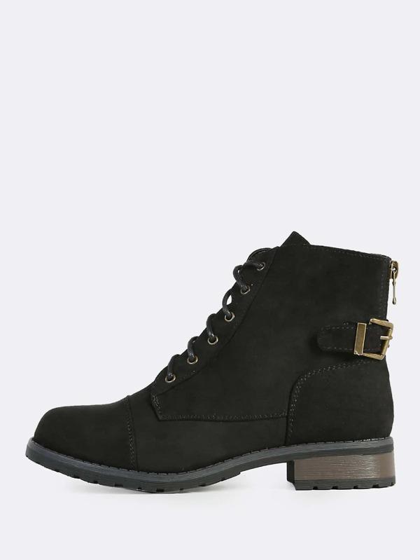 bc9c8606dde Laced Combat Boots BLACK