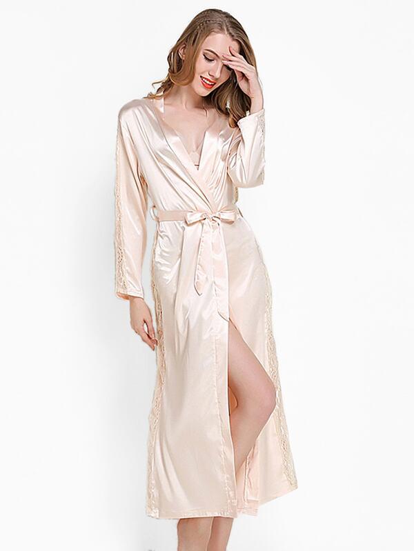 e49605833b Lace Panel Self Tie Satin Longline Robe
