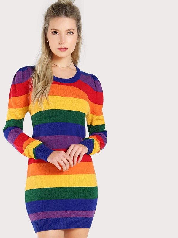 ecb6782da65 Cheap Rainbow Striped Puffed Shoulder Dress RAINBOW for sale Australia