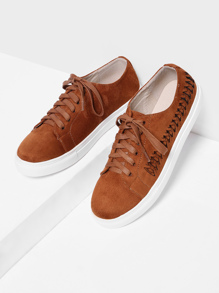Woven Detail Lace Up Suede Trainers