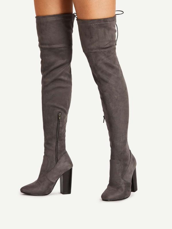 ddacb1a34f Lace Up Detail Block Heeled Thigh High Boots -SheIn(Sheinside)