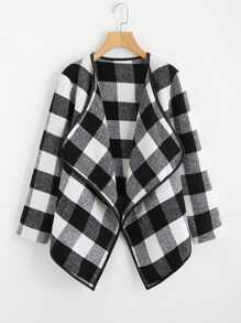 Gingham Plaid Waterfall Neck Coat
