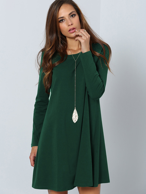 b628b5dc0 Vestido liso de manga larga - verde