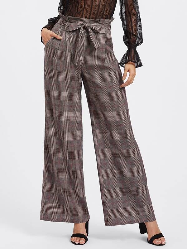 a2912daba28 Tie Waist Plaid Wide Leg Pants -SheIn(Sheinside)