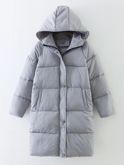 Longline Padded Coat With Hoodie