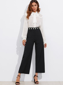 Pearl Detail Waist Wide Leg Pants